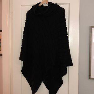 Black sweater poncho
